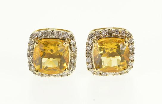 10K Citrine Cushion Cut Diamond Halo Post Back Yellow Gold EarRings