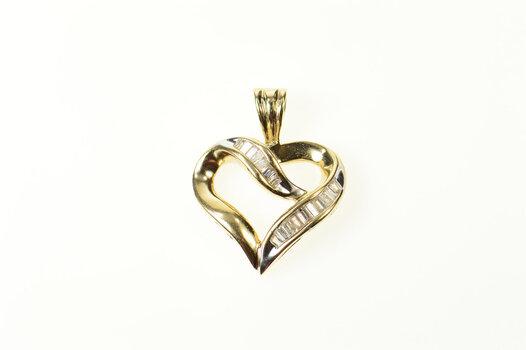 10K Classic Baguette Diamond Heart Love Yellow Gold Pendant