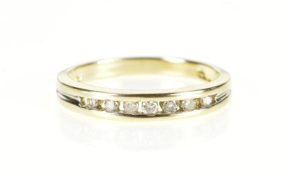 10K Classic Diamond Channel Wedding Band Yellow Gold Ring, Size 6