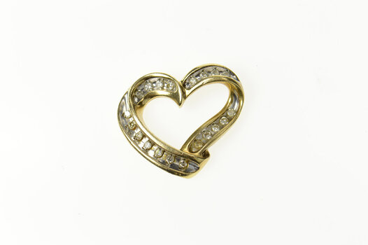 10K Classic Diamond Curvy Channel Heart Love Yellow Gold Pendant