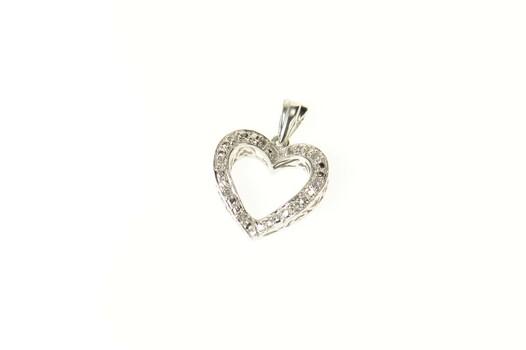 10K Classic Diamond Heart Love Symbol White Gold Pendant