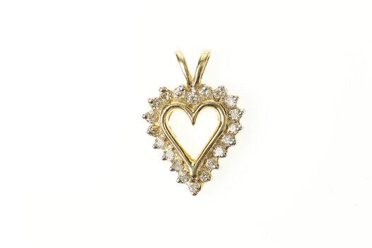 10K Classic Diamond Heart Simple Love Symbol Yellow Gold Pendant