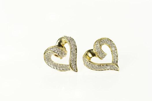 10K Classic Diamond Inset Heart Love Symbol Stud Yellow Gold Earrings