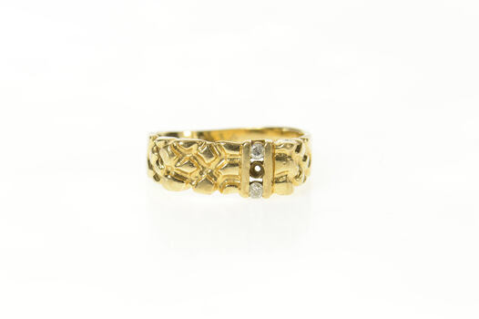 10K Classic Diamond Textured Nugget Statement Yellow Gold Ring, Size 8.25