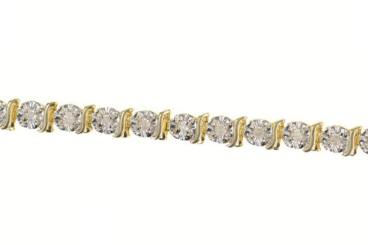 "10K Classic Diamond Wavy Link Tennis Yellow Gold Bracelet 7.25"""