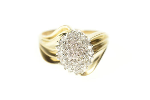 10K Classic Marquise Diamond Cluster Statement Yellow Gold Ring, Size 10.25