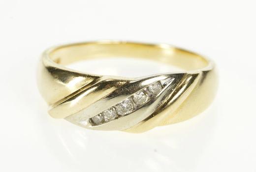10K Classic Men's Channel Diamond Wedding Band Yellow Gold Ring, Size 11