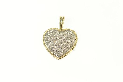 10K Classic Pave Diamond Heart Love Symbol Yellow Gold Pendant