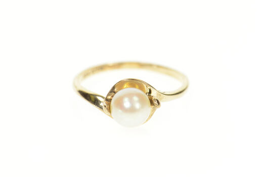 10K Classic Pearl Wavy Bypass Simple Yellow Gold Ring, Size 6.5