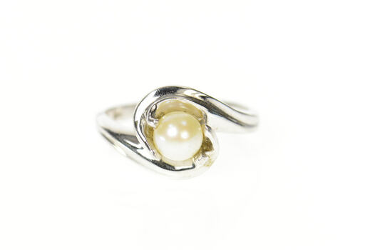 10K Classic Pearl Wavy Freeform Statement White Gold Ring, Size 7