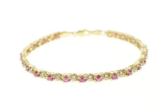 "10K Classic Ruby Diamond Inset Tennis Yellow Gold Bracelet 7"""