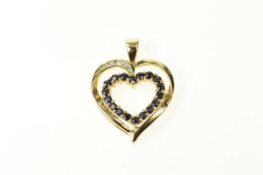 10K Classic Sapphire Diamond Accent Heart Yellow Gold Pendant