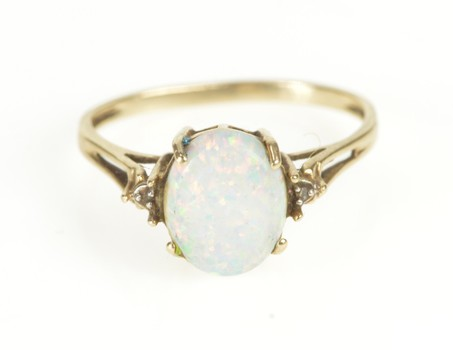 10K Classic Syn. Opal Diamond Accent Statement Yellow Gold Ring, Size 6.75