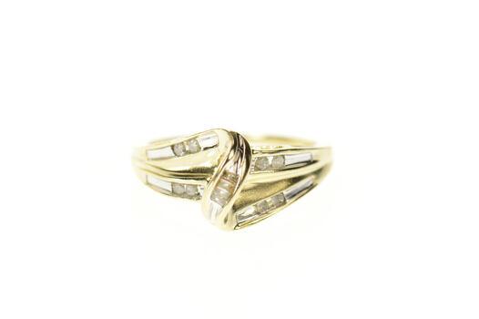 10K Classic Wavy Diamond Bypass Statement Yellow Gold Ring, Size 6.75