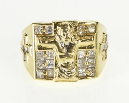 10K Crucifix Cross Christian Faith Men's CZ Yellow Gold Ring, Size 9.75
