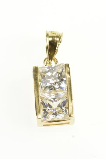 10K Cubic Zirconia Princess Cut Bezel Set Yellow Gold Pendant