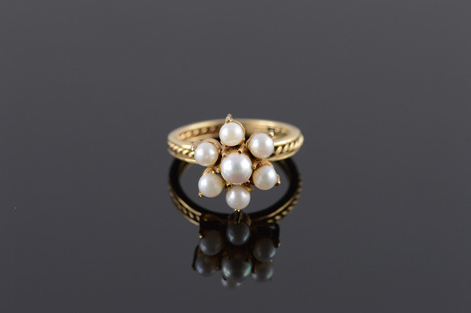 10K Cultured Pearl Floral Rope Trim Raised Bridge Yellow Gold Ring, Size 5.75