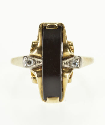 10K Curved Black Onyx Diamond Accented Ornate Yellow Gold Ring, Size 4.75