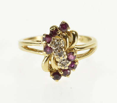 10K Curved Ruby Diamond Wavy Cluster Statement Yellow Gold Ring, Size 5.75