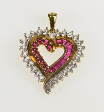 10K Curvy Heart Sim. Ruby Cubic Zirconia Love Yellow Gold Pendant