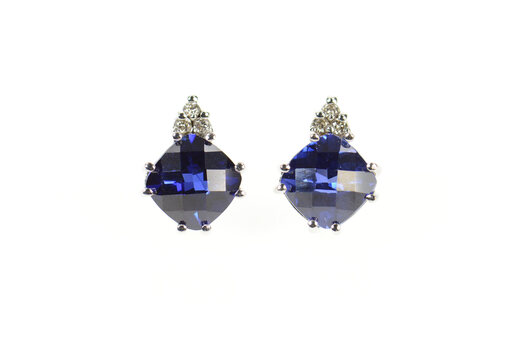 10K Cushion Faceted Syn. Sapphire Stud White Gold Earrings