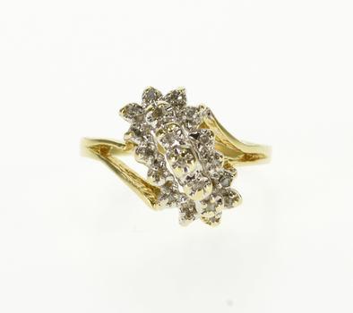 10K Diagonal Diamond Encrusted Freeform Cluster Yellow Gold Ring, Size 7