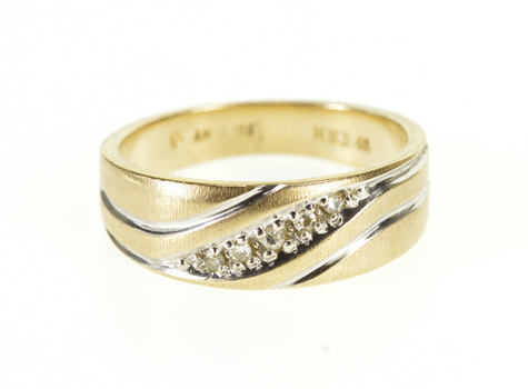 10K Diagonal Diamond Inset Grooved Textured Band Yellow Gold Ring, Size 6