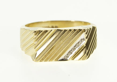 10K Diagonal Grooved Diamond Inset Squared Men's Yellow Gold Ring, Size 9.25