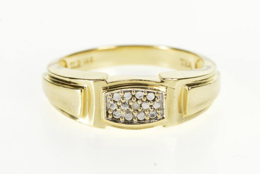 10K Diamond Accent Men's Wedding Band Yellow Gold Ring, Size 10.75