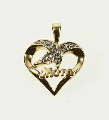 10K Diamond Accented Wavy Criss Cross Mom Heart Yellow Gold Pendant