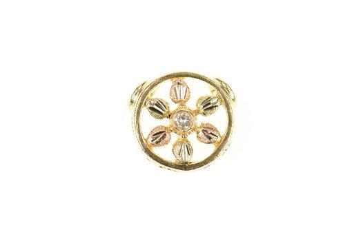 10K Diamond Black Hills Leaf Flower Round Slide Yellow Gold Pendant