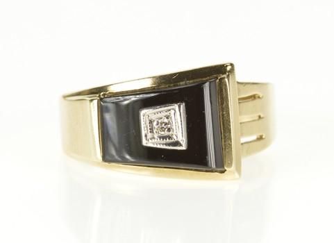 10K Diamond Black Onyx Trapezoid 1940's Statement Yellow Gold Ring, Size 6