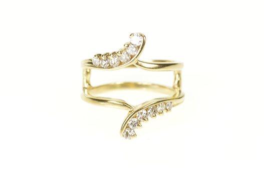 10K Diamond Bypass Wedding Enhancer Guard Band Yellow Gold Ring, Size 5.5