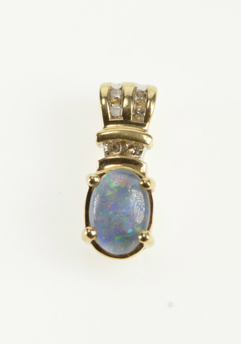 10K Diamond Channel Accent Oval Opal Triplet Yellow Gold Pendant