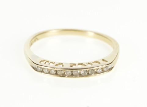 10K Diamond Channel I Love You Cut Out Band Yellow Gold Ring, Size 7.25