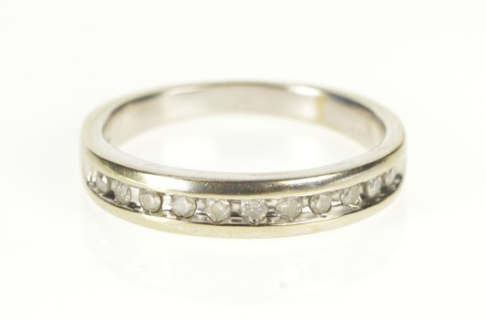 10K Diamond Channel Inset Classic Wedding Band White Gold Ring, Size 8.5