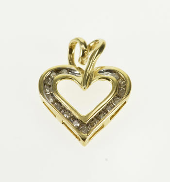 10K Diamond Channel Inset Heart Decorative Bail Yellow Gold Pendant