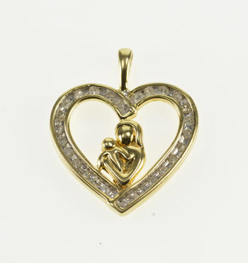 10K Diamond Channel Inset Mother and Child Heart Yellow Gold Pendant