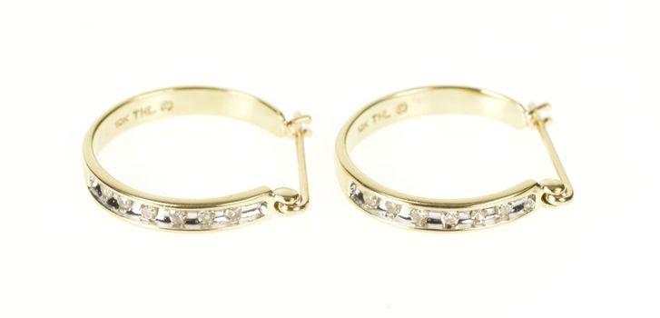 10K Diamond Channel Inset Simple Hoop Yellow Gold Earrings