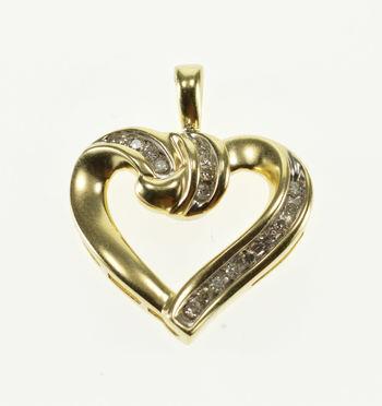 10K Diamond Channel Inset Swirl Curvy Heart Yellow Gold Pendant