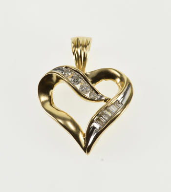 10K Diamond Channel Inset Wavy Design Heart Yellow Gold Pendant