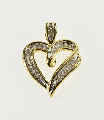 10K Diamond Channel Inset Wavy Heart Yellow Gold Pendant