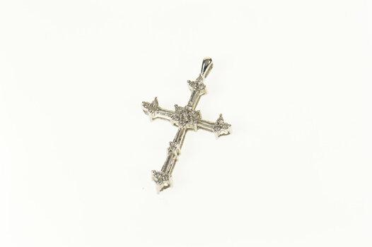 10K Diamond Classic Cross Christian Faith White Gold Pendant