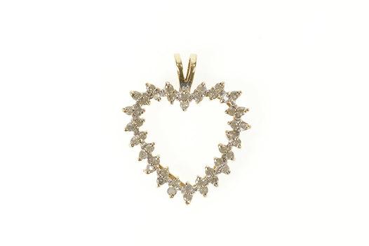 10K Diamond Classic Heart Love Anniversary Yellow Gold Pendant