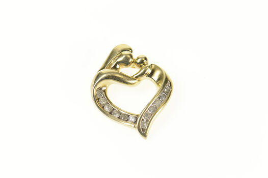 10K Diamond Classic Mother Child Heart Mother's Day Yellow Gold Pendant