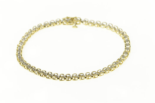 10K Diamond Classic Rounded Link Tennis Yellow Gold Bracelet 7.5""
