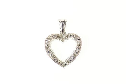 10K Diamond Classic Simple Heart Love Symbol White Gold Pendant