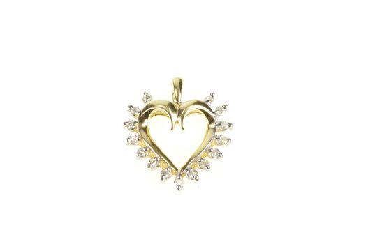 10K Diamond Classic Simple Heart Love Yellow Gold Pendant