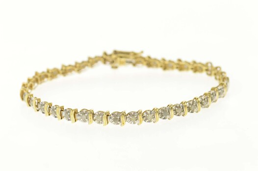 "10K Diamond Classic Wavy Link Tennis Yellow Gold Bracelet 7"""