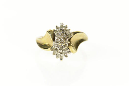 10K Diamond Cluster Classic Statement Yellow Gold Ring, Size 7